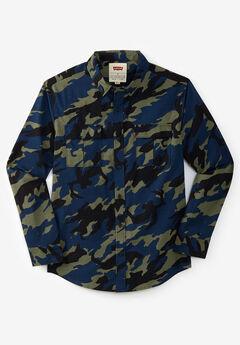 Levi's® Long-Sleeve Poplin Shirt, OLIVE NIGHT CAMO