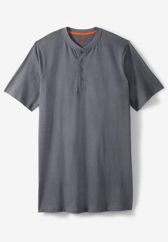 Heavyweight Longer-Length Short-Sleeve Henley Shirt by Boulder Creek®,
