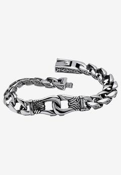 "9"" Stainless Steel Tribal Curb Link 9"" Bracelet, STAINLESS STEEL"