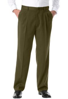 No Hassle® Classic Fit Expandable Waist Double-Pleat Dress Pants by KS Signature,