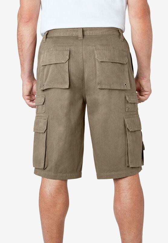Dark Brown 50 Big Boulder Creek by Kingsize Mens Big /& Tall 12 Side-Elastic Stacked Cargo Pocket Shorts