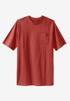 Boulder Creek® Heavyweight Longer-Length Pocket Crewneck T-Shirt, MOUNTAIN RED