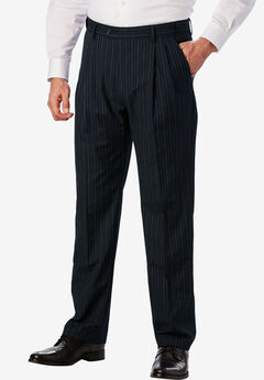 KS Signature Easy Movement® Pleat-Front Expandable Dress Pants, NAVY PINSTRIPE