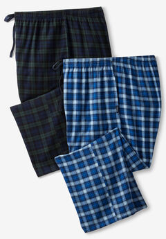 Hanes® Flannel Pajama Pants 2-Pack, BLUE BLACK PLAID