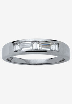 Platinum over Silver Baguette Wedding Band Ring Cubic Zirconia, WHITE