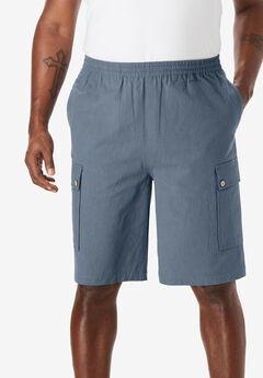 Gauze Cotton Cargo Shorts with Inside Drawstring,