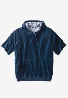 Velour Short-Sleeve Pullover Hoodie,