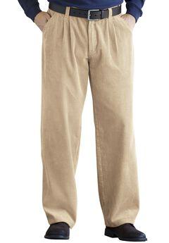 Corduroy Expandable Waist Pleat-Front Pants,