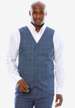 KS Signature Easy Movement® 5-Button Suit Vest, NAVY PLAID