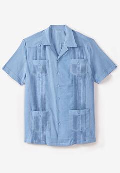 KS Island™ Short-Sleeve Linen Guayabera Shirt, AZURE BLUE