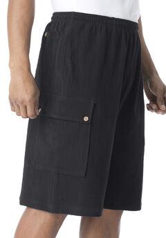 Full Elastic Waist Gauze Cargo Shorts, BLACK