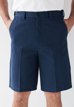Wrinkle-Free Expandable Waist Plain Front Shorts,