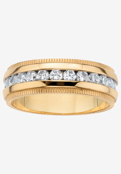 Gold Ion-Plated Stainless Steel Cubic Zirconia Wedding Band, STAINLESS STEEL