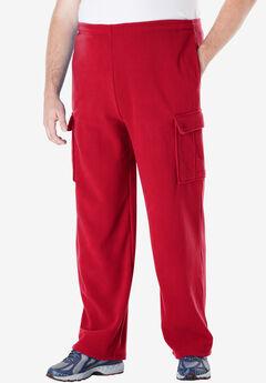 Fleece Cargo Pants, RED