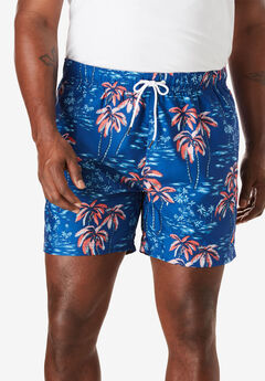 Quick Dry Palm Tree Print Swim Trunk by Nautica®,