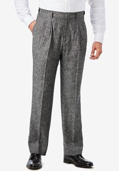 KS Island™ Linen Blend Double-Pleat Front Dress Pants,