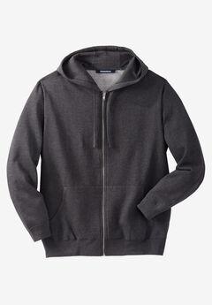 Fleece Zip-Front Hoodie, HEATHER CHARCOAL