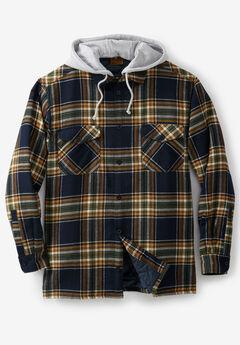 Fleece-Lined Flannel Shirt Jacket by Boulder Creek®, BLACK PLAID