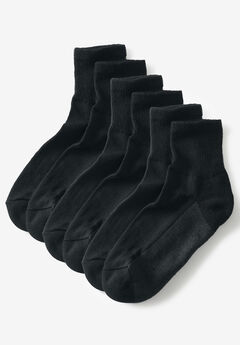 3-Pack 1/4 Length Cushioned Crew Socks,