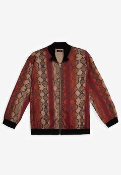 MVP Collections® Animal Print Bomber Jacket, MERLOT PYTHON