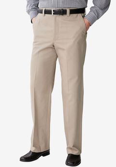Full Elastic Plain Front Wrinkle-Free Pants,