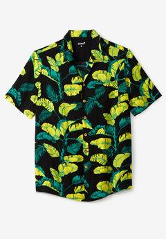 KS Island Tropical Rayon Short-Sleeve Shirt, YELLOW LEAF