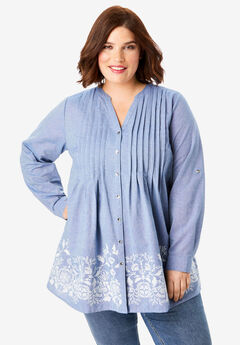 Embroidered Chambray Tunic,