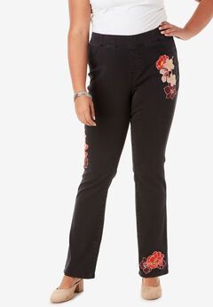 No-Gap Slim Bootcut Jean by Denim 24/7®, MULTI EMBROIDERY