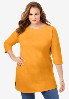 Boatneck Ultimate Tunic with Side Slits, BRIGHT MELON