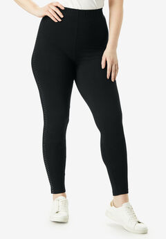 Essential Stretch Legging with Studs, BLACK