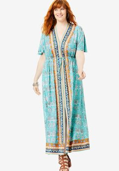 Ultra Smooth Border-Print Maxi Dress, AQUA ORNATE FLOWER