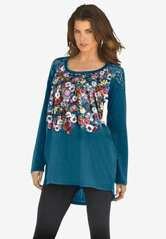 Floral-Print Lace Tunic, TEAL FLORAL PLACEMENT