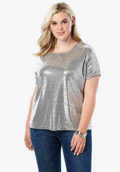 Allover Sequin Tee, SILVER
