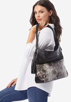 Snake-Print Tasseled Hobo Bag,