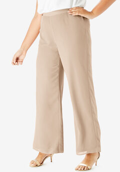 Georgette Wide-Leg Dress Pant, SPARKLING CHAMPAGNE
