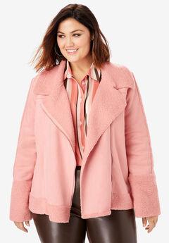 Faux-Shearling Moto Jacket,