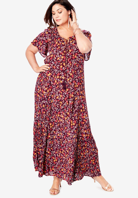 Crinkle Flare-Sleeve Maxi Dress