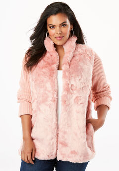 Ribbed Cardigan with Faux Fur Front,
