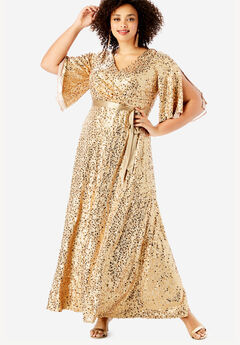 Sequin Gown with Satin Belt, SPARKLING CHAMPAGNE