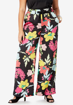 Satin Wide-Leg Pant, GRAPHIC FLORAL PRINT