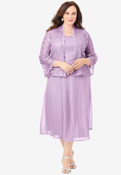 Glitter & Lace Jacket Dress Set, PALE LAVENDER