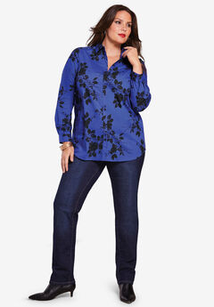 Long-Sleeve Kate Shirt, BLUE BLACK FLORAL