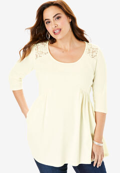Fit-And-Flare Lace-Back Tunic, IVORY