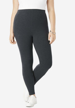 Ankle-Length Essential Stretch Legging, HEATHER CHARCOAL