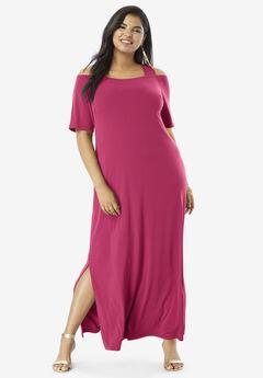 Cold-Shoulder Maxi Dress,