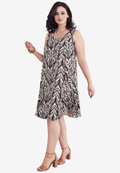 Short Crinkle Dress, CHOCOLATE TRIBAL