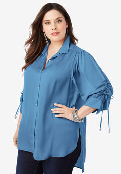 The Tie-Sleeve Tunic with High-Low Hem,
