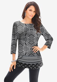 Ultra Smooth Crewneck Printed Tunic,