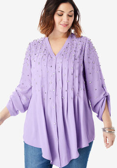 Glam-Embellished Big Shirt, BRIGHT LILAC