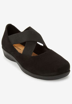 The Stacia Mary Jane Flat by Comfortview®, BLACK